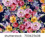 Stock photo watercolor flower pattern 703625638