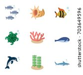 flat icon sea set of seafood ... | Shutterstock .eps vector #703649596
