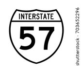 interstate highway 57 road sign.... | Shutterstock .eps vector #703652296