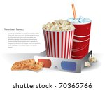 3d movie glasses with popconr... | Shutterstock .eps vector #70365766