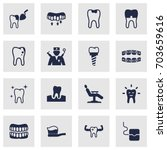 set of 16 dental icons set... | Shutterstock .eps vector #703659616