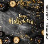 halloween background with black ... | Shutterstock . vector #703666888