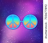 round glasses with hippie peace ... | Shutterstock .eps vector #703677892