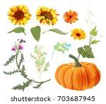 Set Of Autumn Plants  Orange...