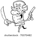 pirate brandishing sword and... | Shutterstock . vector #70370482