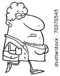 outlined chubby woman carrying... | Shutterstock . vector #70370545