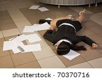 Crime scene in a office with dead secretary - stock photo