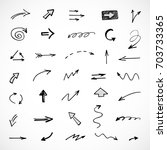 hand drawn arrows  vector set | Shutterstock .eps vector #703733365