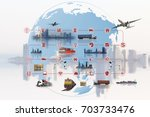 global business of container... | Shutterstock . vector #703733476