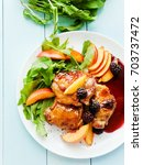 baked chicken with fruits and... | Shutterstock . vector #703737472