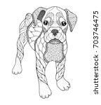 boxer dog in zentangle and... | Shutterstock .eps vector #703746475