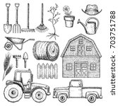 set of farming equipment icons. ... | Shutterstock .eps vector #703751788