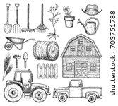 set of farming equipment icons. ... | Shutterstock .eps vector #703751788