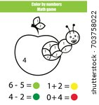 color by numbers. mathematics... | Shutterstock .eps vector #703758022