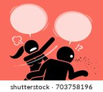 angry woman slapping a man for... | Shutterstock .eps vector #703758196