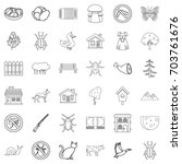 weather icons set. outline... | Shutterstock .eps vector #703761676