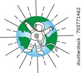 vintage cosmonaut with earth... | Shutterstock .eps vector #703771462