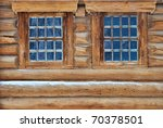 Weathered Log House Wall With...