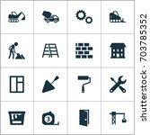 construction icons set.... | Shutterstock .eps vector #703785352