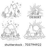 set of four different desert... | Shutterstock . vector #703794922