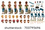 man people travel tourists ... | Shutterstock .eps vector #703795696