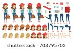 tourist woman travel creation... | Shutterstock .eps vector #703795702