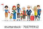 tour guides and tourist groups... | Shutterstock .eps vector #703795912