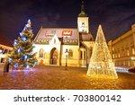 zagreb government square advent ...   Shutterstock . vector #703800142