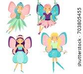 fairy set. beautiful girl in... | Shutterstock .eps vector #703805455