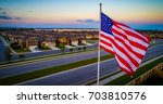 American Flag On Flag Pole...