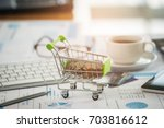 shopping concept  coins in a... | Shutterstock . vector #703816612