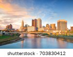 Small photo of View of downtown Columbus Ohio Skyline at Sunset