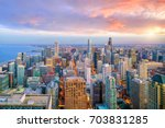 aerial view of chicago downtown ... | Shutterstock . vector #703831285