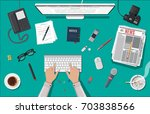 writer or journalist workplace. ... | Shutterstock .eps vector #703838566