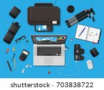 workspace of photographer.... | Shutterstock .eps vector #703838722