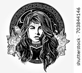 magic woman tattoo and t shirt... | Shutterstock .eps vector #703844146