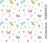 magic doodle seamless pattern ... | Shutterstock . vector #703844515