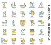 icons of cleaning  disinfection ... | Shutterstock .eps vector #703845046
