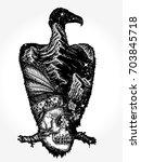 vulture double exposure animals ...   Shutterstock .eps vector #703845718