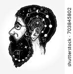 scientist tattoo. double... | Shutterstock .eps vector #703845802
