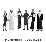 arabic business team  cartoon... | Shutterstock .eps vector #703846255