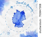 germany watercolor map in blue... | Shutterstock .eps vector #703847308