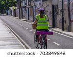 cyclist with helmet and... | Shutterstock . vector #703849846