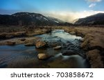 Moraine Park meadows at sunrise in Rocky Mountain National Park, near Estes Park, and about an hour northwest of Denver, Colorado. - stock photo
