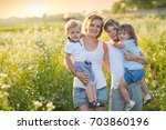 large family with children ... | Shutterstock . vector #703860196
