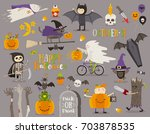 set of halloween sign  symbol ... | Shutterstock .eps vector #703878535
