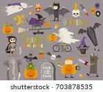 set of halloween sign  symbol ... | Shutterstock .eps vector #703878535