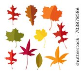 colorful set of autumn maple ... | Shutterstock .eps vector #703878586