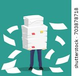 paper pile with a man. vector... | Shutterstock .eps vector #703878718