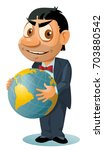 funny man in suit holds a globe....   Shutterstock .eps vector #703880542